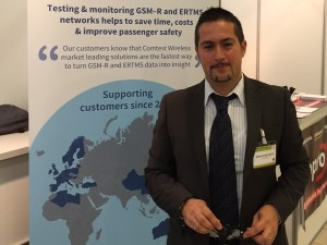 Franco De Fazio shows Comtest Wireless solutions for GSM-R and ERTMS testing and monitoring